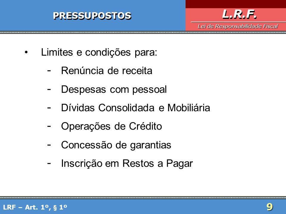 9 PRESSUPOSTOS Limites e condições para: - Renúncia de receita - Despesas com pessoal - Dívidas Consolidada e Mobiliária - Operações de Crédito - Conc