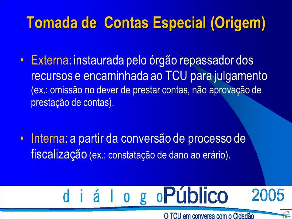 Tomada de Contas Especial (Origem) Externa: instaurada pelo órgão repassador dos recursos e encaminhada ao TCU para julgamento (ex.: omissão no dever de prestar contas, não aprovação de prestação de contas).
