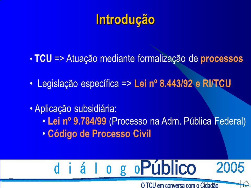 Introdução TCU => Atuação mediante formalização de processos Legislação específica => Lei nº 8.443/92 e RI/TCU Aplicação subsidiária: Lei nº 9.784/99 (Processo na Adm.