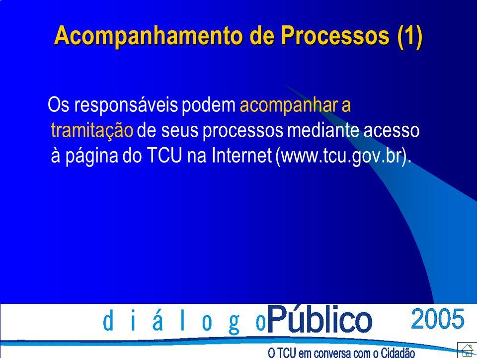 Acompanhamento de Processos (1) Os responsáveis podem acompanhar a tramitação de seus processos mediante acesso à página do TCU na Internet (www.tcu.gov.br).