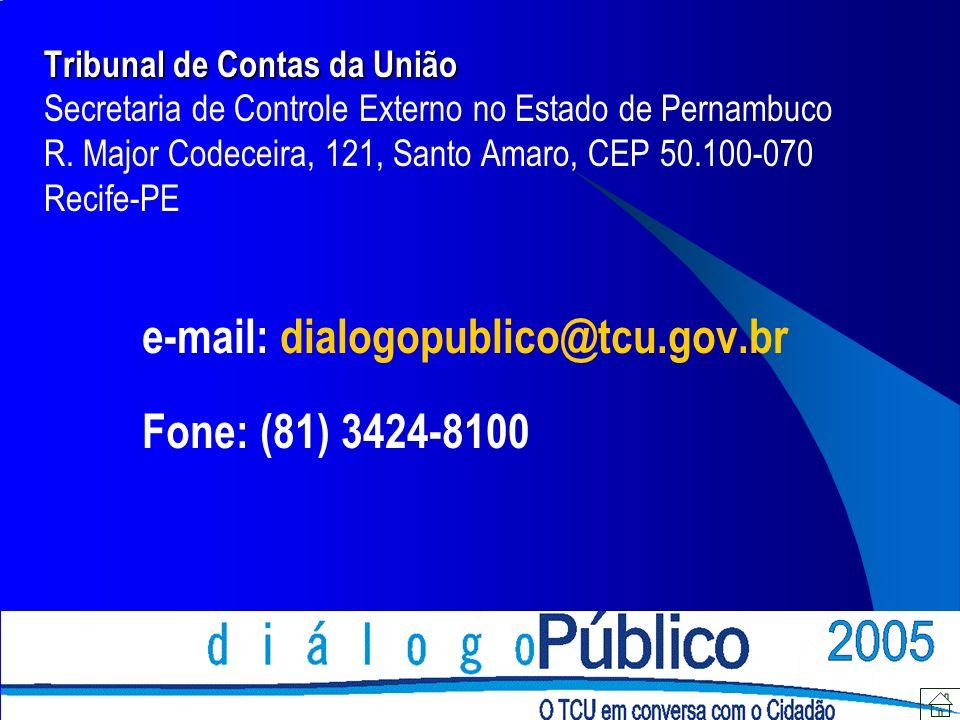 Tribunal de Contas da União Tribunal de Contas da União Secretaria de Controle Externo no Estado de Pernambuco R.