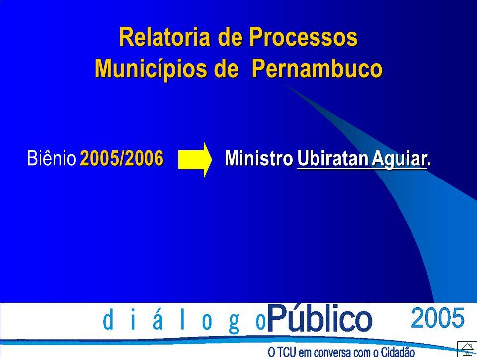 Relatoria de Processos Municípios de Pernambuco 2005/2006Ministro Ubiratan Aguiar.
