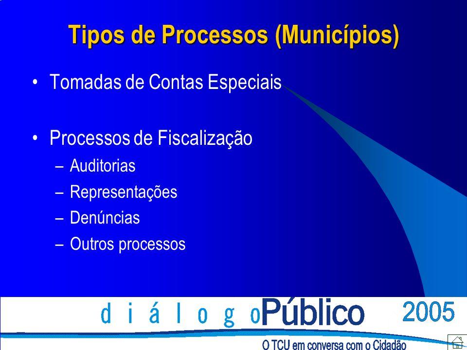 Tipos de Processos (Municípios) Tomadas de Contas Especiais Processos de Fiscalização –Auditorias –Representações –Denúncias –Outros processos