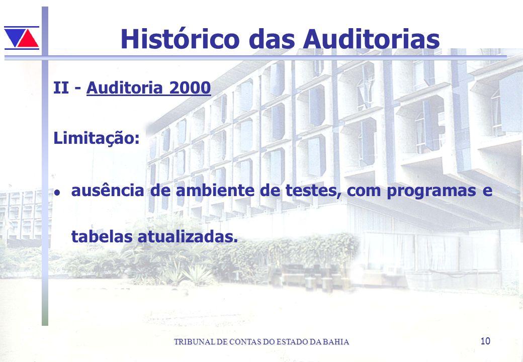 TRIBUNAL DE CONTAS DO ESTADO DA BAHIA 10 Histórico das Auditorias II - Auditoria 2000 Limitação: l ausência de ambiente de testes, com programas e tab