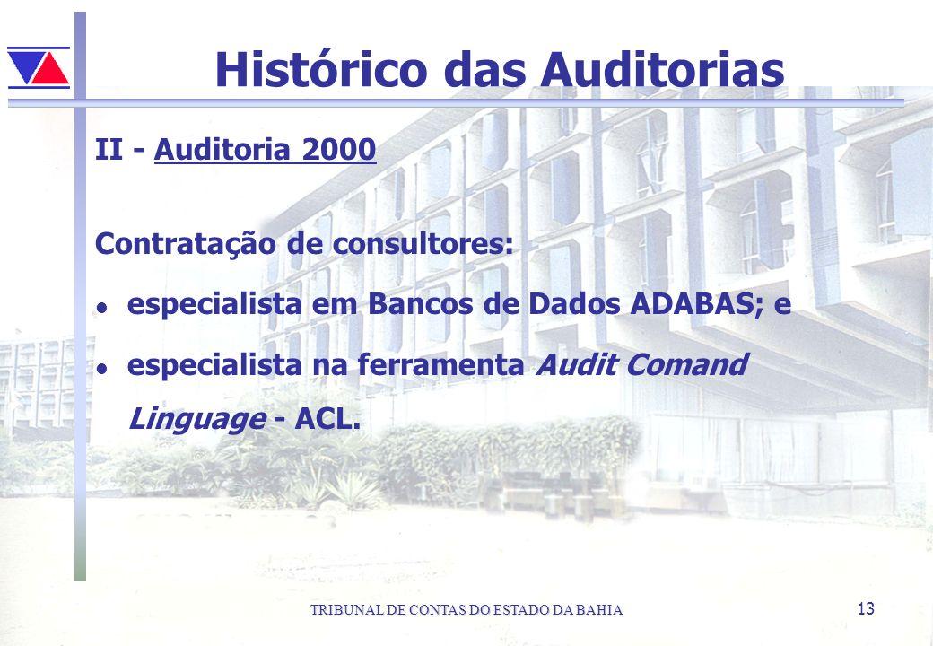TRIBUNAL DE CONTAS DO ESTADO DA BAHIA 13 Histórico das Auditorias II - Auditoria 2000 Contratação de consultores: l especialista em Bancos de Dados AD