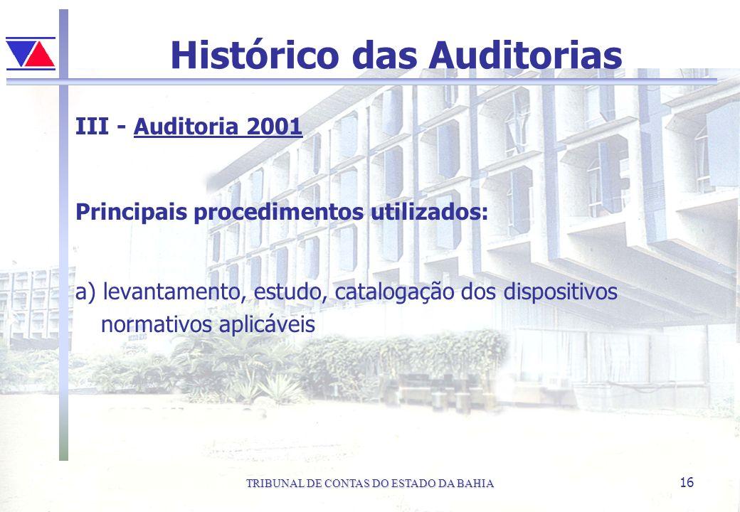 TRIBUNAL DE CONTAS DO ESTADO DA BAHIA 16 Histórico das Auditorias III - Auditoria 2001 Principais procedimentos utilizados: a) levantamento, estudo, c