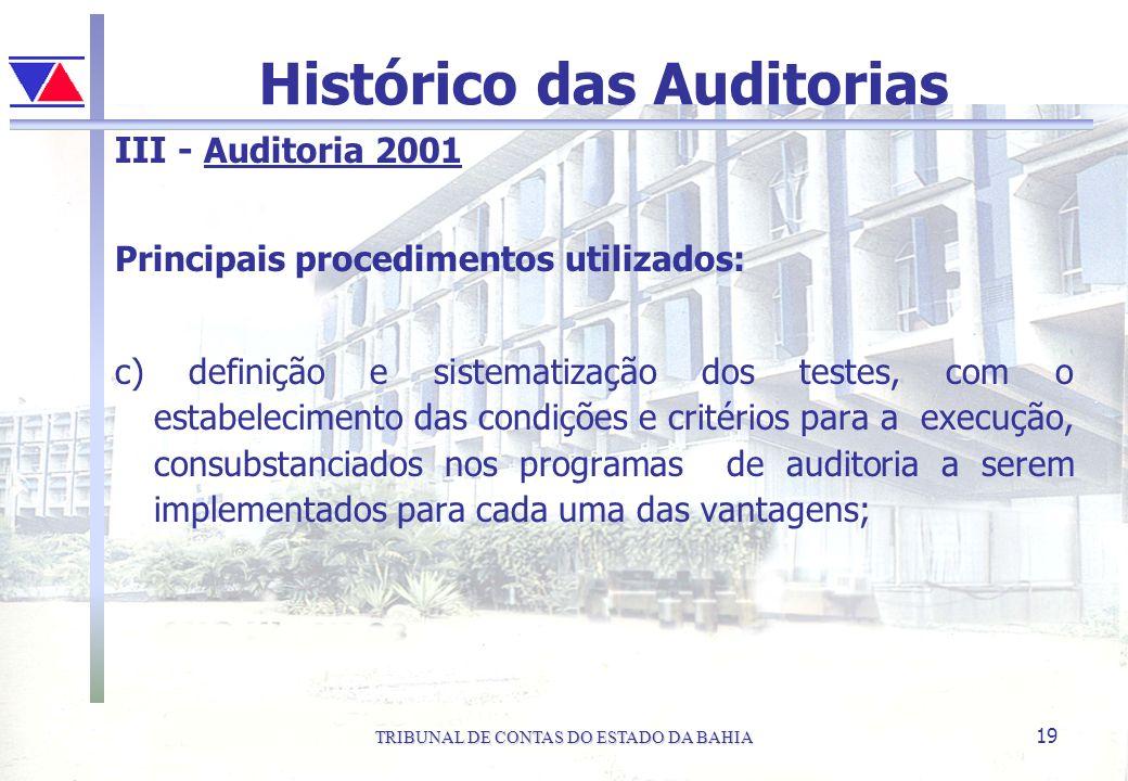 TRIBUNAL DE CONTAS DO ESTADO DA BAHIA 19 Histórico das Auditorias III - Auditoria 2001 Principais procedimentos utilizados: c) definição e sistematiza