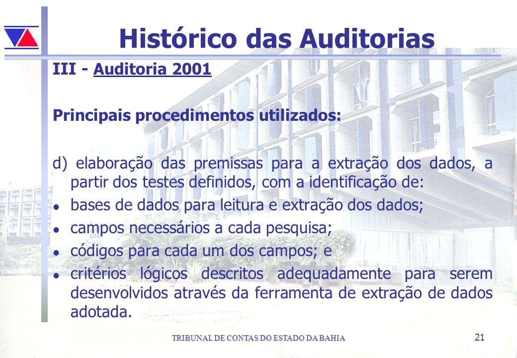 TRIBUNAL DE CONTAS DO ESTADO DA BAHIA 21 Histórico das Auditorias III - Auditoria 2001 Principais procedimentos utilizados: d) elaboração das premissa