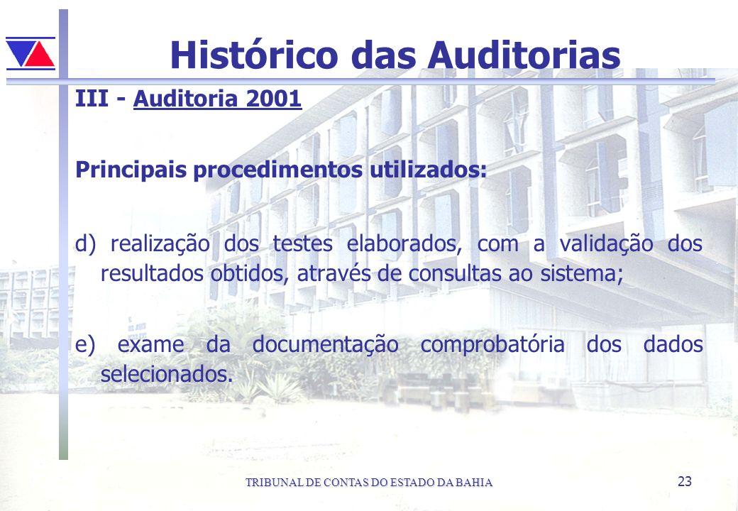 TRIBUNAL DE CONTAS DO ESTADO DA BAHIA 23 Histórico das Auditorias III - Auditoria 2001 Principais procedimentos utilizados: d) realização dos testes e