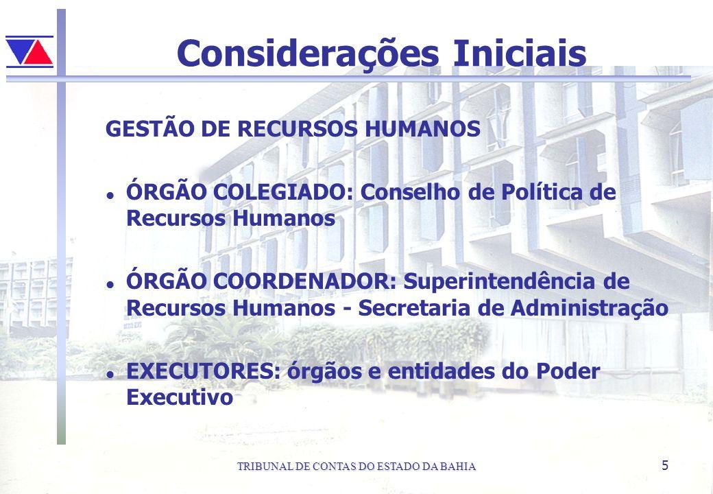 TRIBUNAL DE CONTAS DO ESTADO DA BAHIA 5 Considerações Iniciais GESTÃO DE RECURSOS HUMANOS l ÓRGÃO COLEGIADO: Conselho de Política de Recursos Humanos