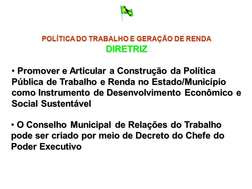 POLÍTICA DO TRABALHO E GERAÇÃO DE RENDA DIRETRIZ Promover e Articular a Construção da Política Pública de Trabalho e Renda no Estado/Município como In