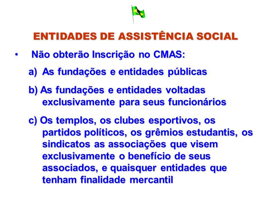 ENTIDADES DE ASSISTÊNCIA SOCIAL Não obterão Inscrição no CMAS: Não obterão Inscrição no CMAS: a)As fundações e entidades públicas b) As fundações e en