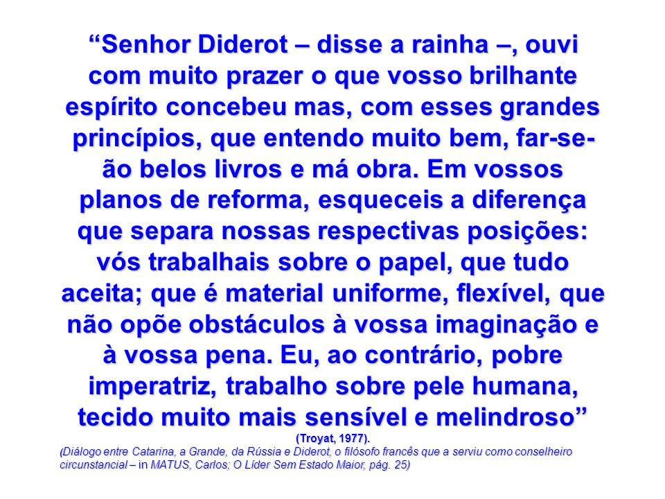 Senhor Diderot – disse a rainha –, ouvi com muito prazer o que vosso brilhante espírito concebeu mas, com esses grandes princípios, que entendo muito