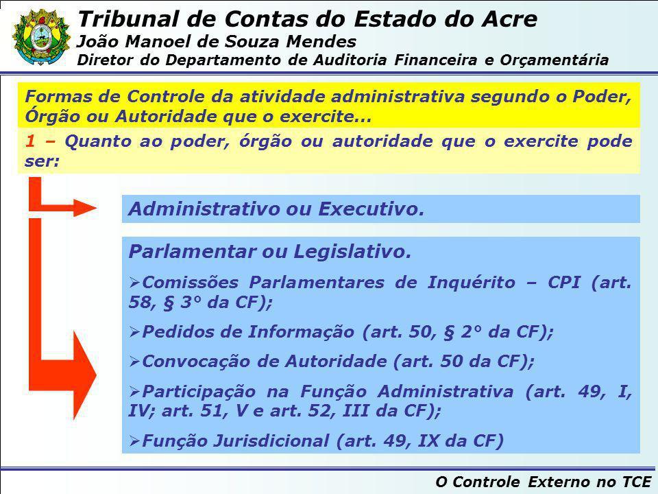 Tribunal de Contas do Estado do Acre João Manoel de Souza Mendes Diretor do Departamento de Auditoria Financeira e Orçamentária O Controle Externo no TCE 2 – Quanto à situação do órgão controlador...