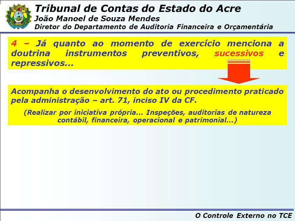 Tribunal de Contas do Estado do Acre João Manoel de Souza Mendes Diretor do Departamento de Auditoria Financeira e Orçamentária O Controle Externo no TCE FIM