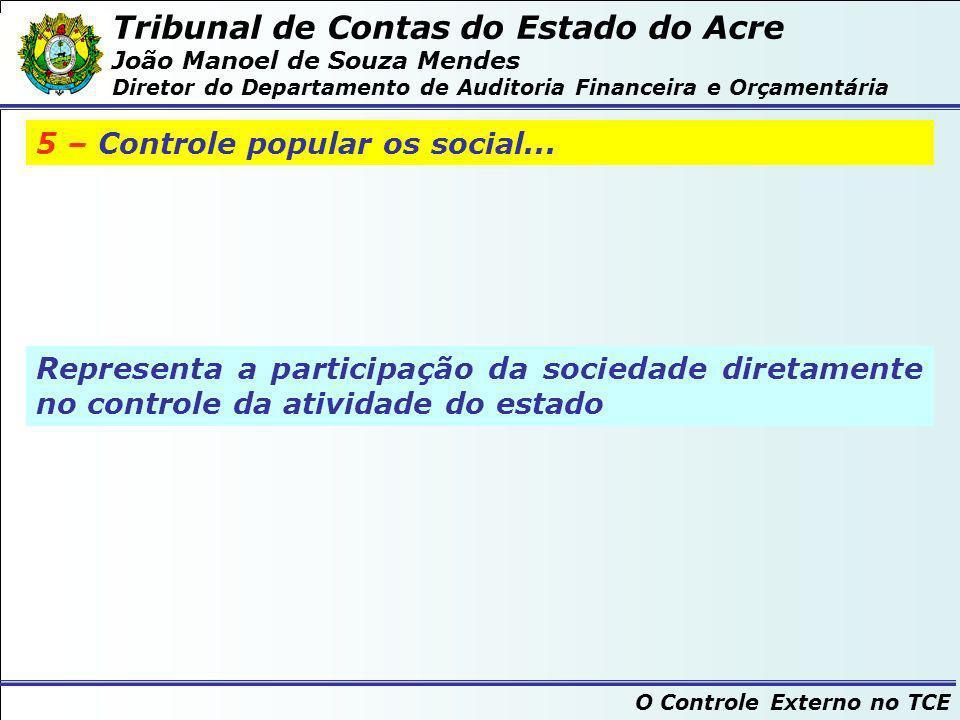 Tribunal de Contas do Estado do Acre João Manoel de Souza Mendes Diretor do Departamento de Auditoria Financeira e Orçamentária O Controle Externo no TCE O controle externo pelos Tribunais de Contas...