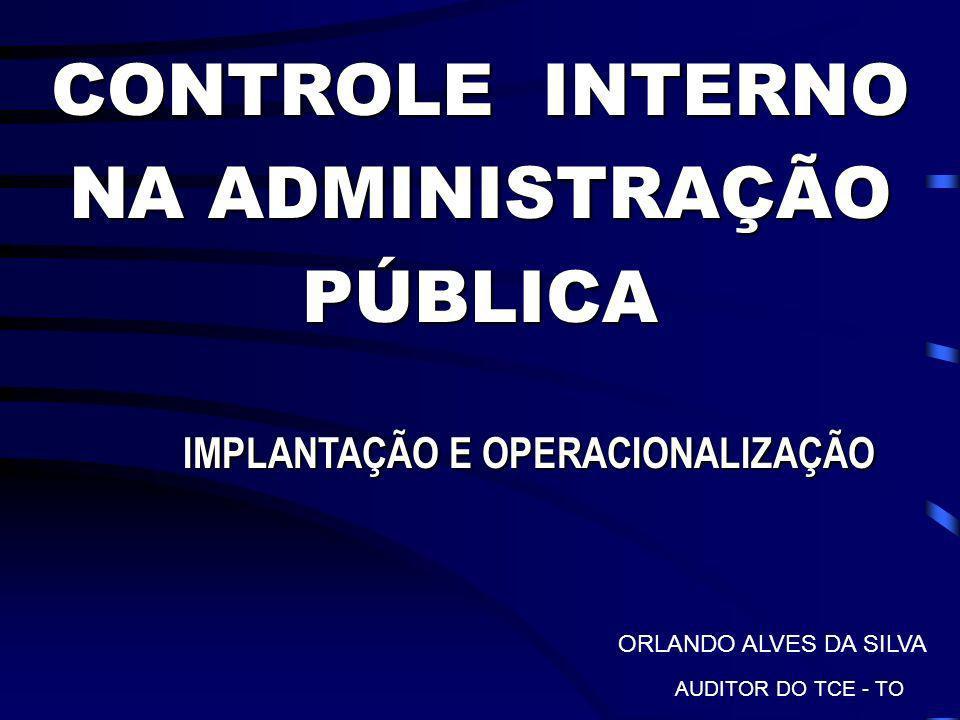 CONTROLE INTERNO NA ADMINISTRAÇÃO PÚBLICA IMPLANTAÇÃO E OPERACIONALIZAÇÃO IMPLANTAÇÃO E OPERACIONALIZAÇÃO ORLANDO ALVES DA SILVA AUDITOR DO TCE - TO