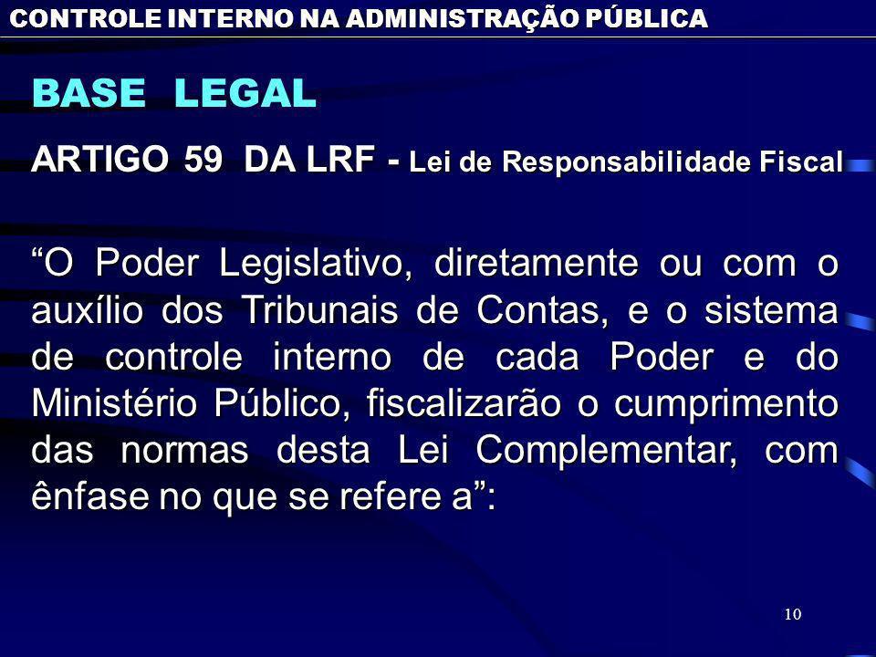 10 BASE LEGAL CONTROLE INTERNO NA ADMINISTRAÇÃO PÚBLICA ARTIGO 59 DA LRF - Lei de Responsabilidade Fiscal O Poder Legislativo, diretamente ou com o au