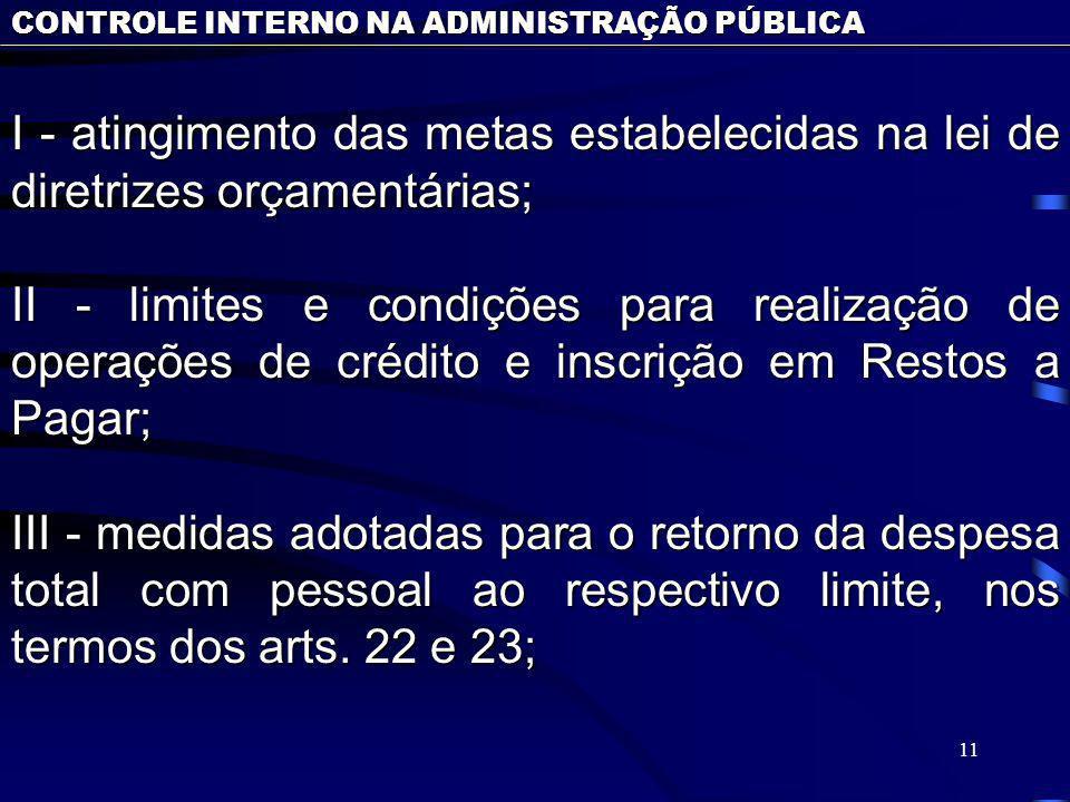 11 CONTROLE INTERNO NA ADMINISTRAÇÃO PÚBLICA I - atingimento das metas estabelecidas na lei de diretrizes orçamentárias; II - limites e condições para