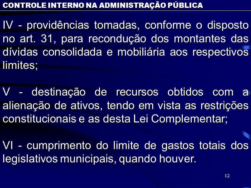 12 CONTROLE INTERNO NA ADMINISTRAÇÃO PÚBLICA IV - providências tomadas, conforme o disposto no art. 31, para recondução dos montantes das dívidas cons