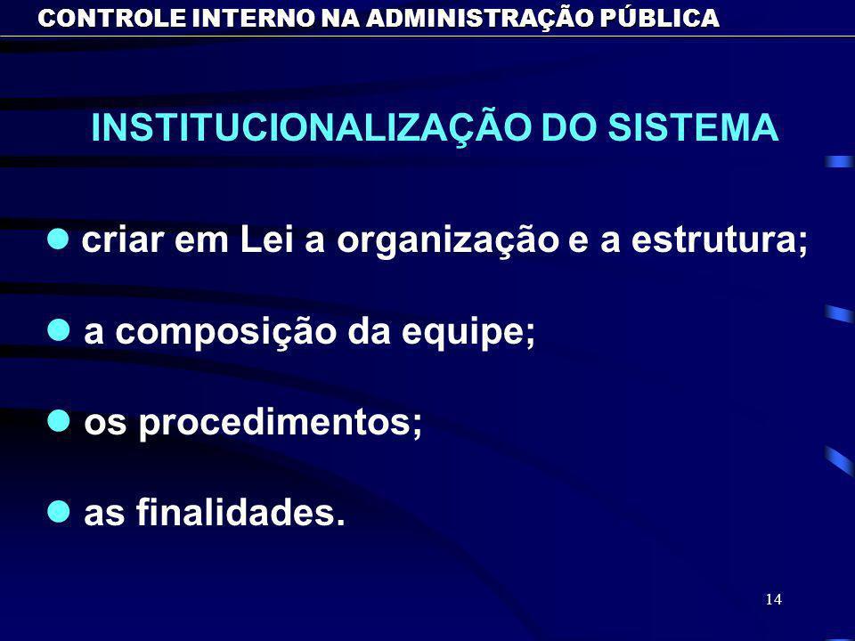 14 CONTROLE INTERNO NA ADMINISTRAÇÃO PÚBLICA l l criar em Lei a organização e a estrutura; l l a composição da equipe; l l os procedimentos; l l as finalidades.