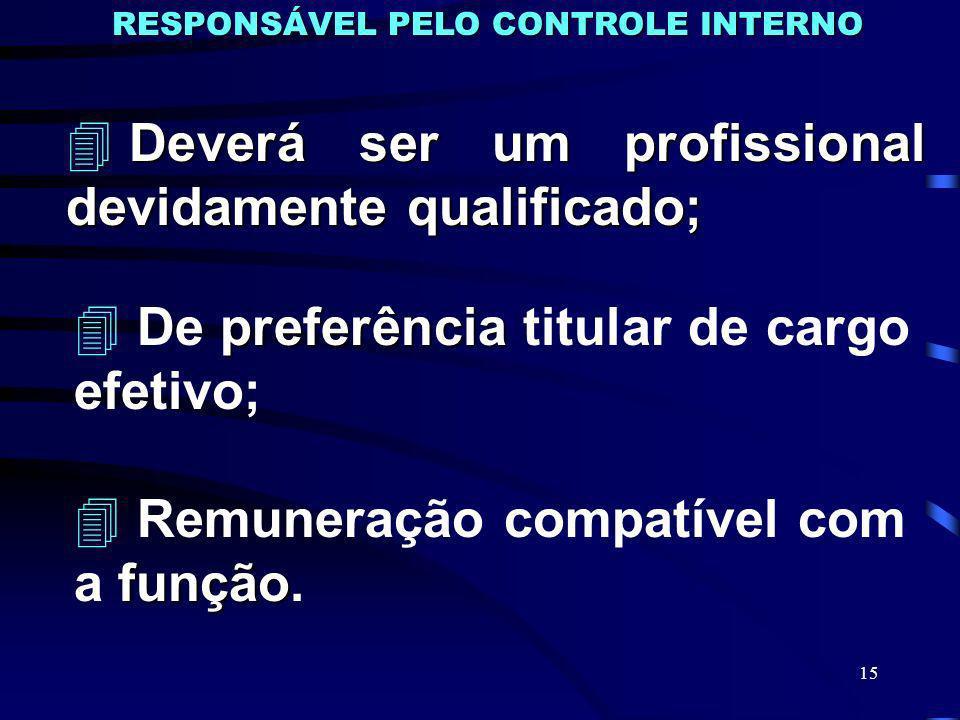15 RESPONSÁVEL PELO CONTROLE INTERNO 4 Deverá ser um profissional devidamente qualificado; 4preferência 4 De preferência titular de cargo efetivo; 4 função 4 Remuneração compatível com a função.