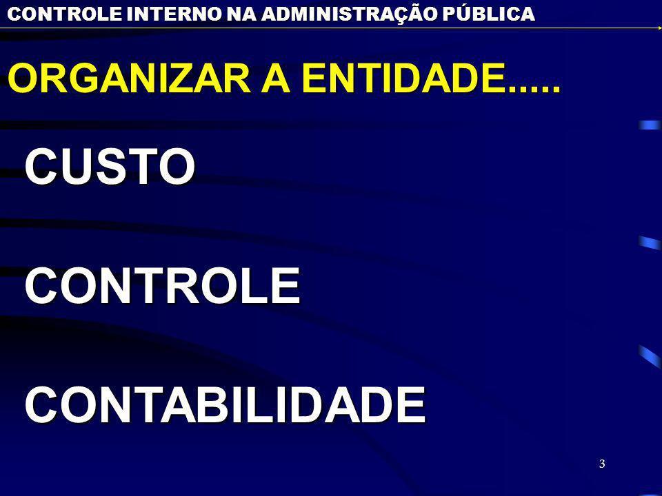 3 CONTROLE INTERNO NA ADMINISTRAÇÃO PÚBLICA ORGANIZAR A ENTIDADE..... CUSTOCONTROLECONTABILIDADE