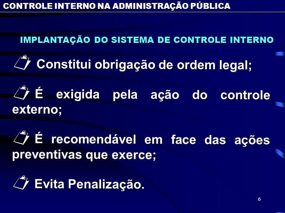 6 IMPLANTAÇÃO DO SISTEMA DE CONTROLE INTERNO IMPLANTAÇÃO DO SISTEMA DE CONTROLE INTERNO Constitui obrigação de ordem legal; Constitui obrigação de ord