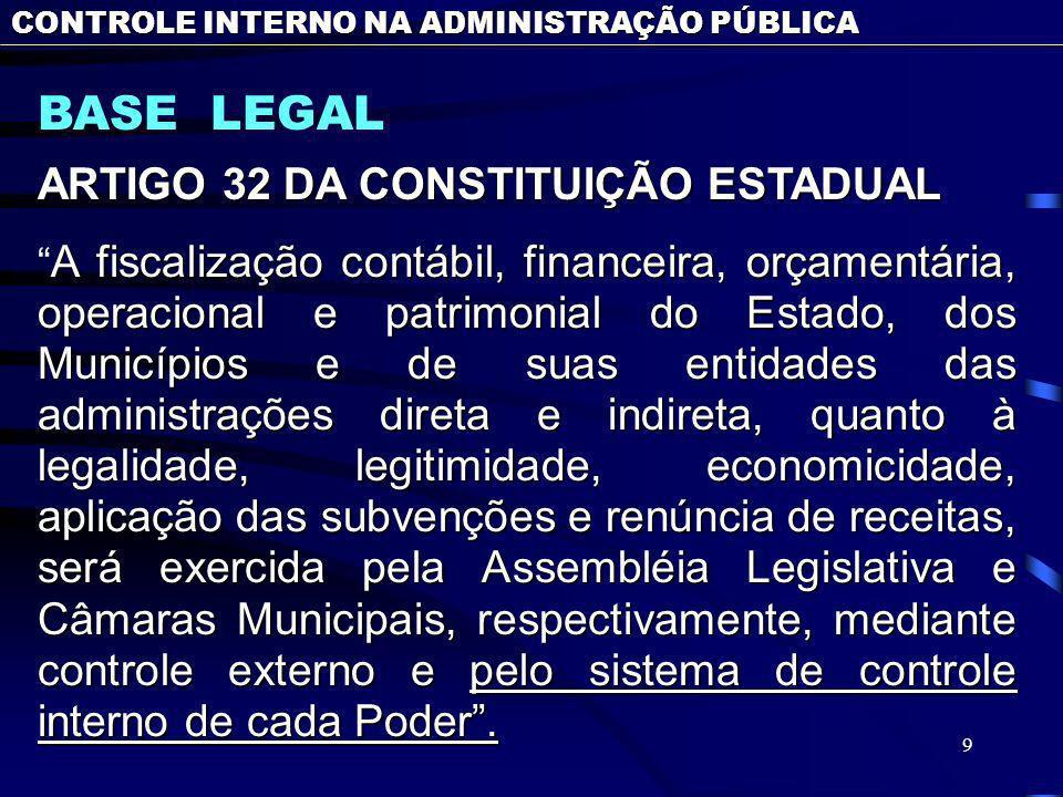 9 BASE LEGAL CONTROLE INTERNO NA ADMINISTRAÇÃO PÚBLICA ARTIGO 32 DA CONSTITUIÇÃO ESTADUAL A fiscalização contábil, financeira, orçamentária, operacional e patrimonial do Estado, dos Municípios e de suas entidades das administrações direta e indireta, quanto à legalidade, legitimidade, economicidade, aplicação das subvenções e renúncia de receitas, será exercida pela Assembléia Legislativa e Câmaras Municipais, respectivamente, mediante controle externo e pelo sistema de controle interno de cada Poder.