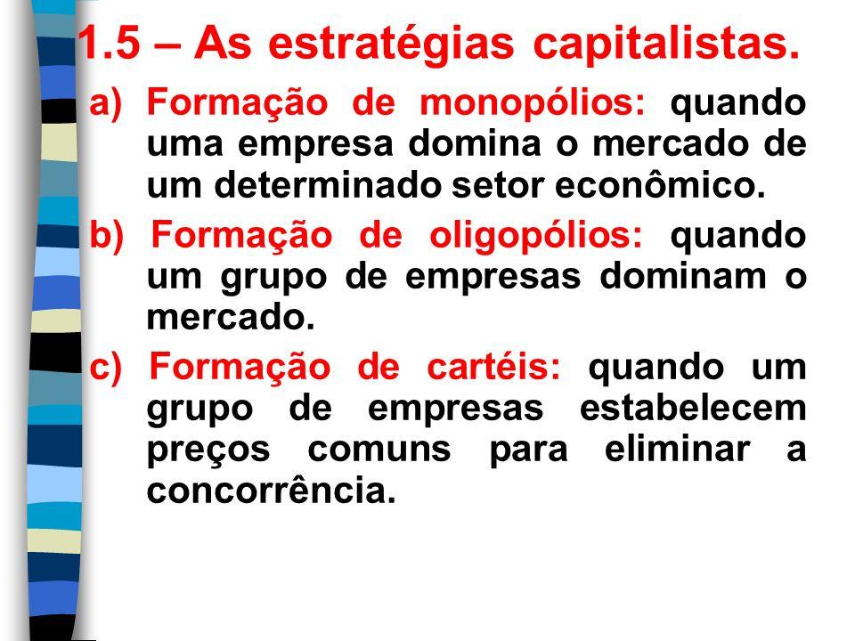 1.5 – As estratégias capitalistas. a) Formação de monopólios: quando uma empresa domina o mercado de um determinado setor econômico. b) Formação de ol
