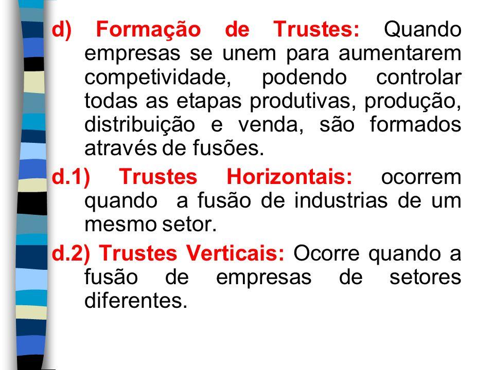 d) Formação de Trustes: Quando empresas se unem para aumentarem competividade, podendo controlar todas as etapas produtivas, produção, distribuição e