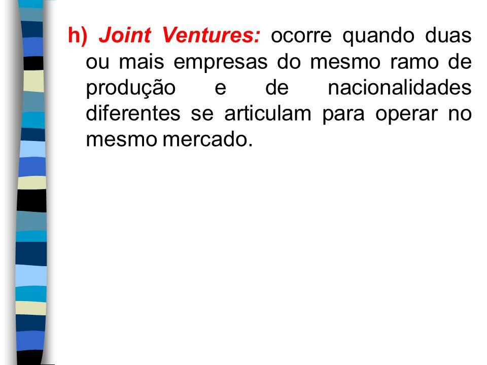 h) Joint Ventures: ocorre quando duas ou mais empresas do mesmo ramo de produção e de nacionalidades diferentes se articulam para operar no mesmo merc
