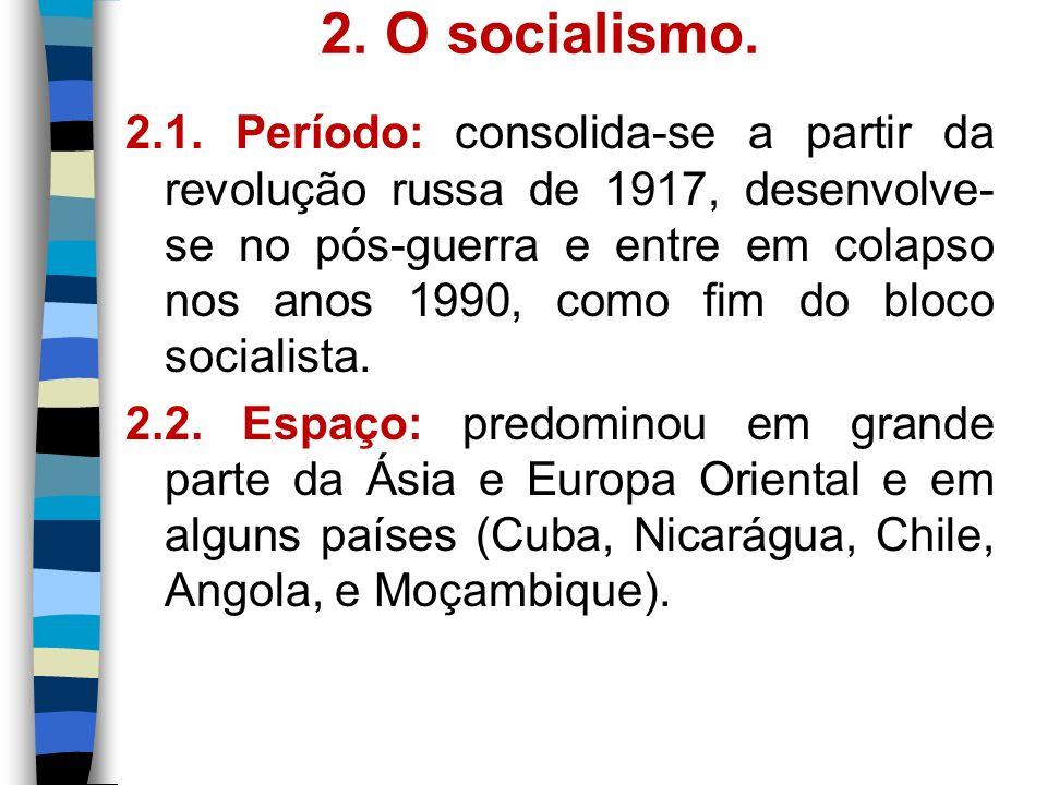 2. O socialismo. 2.1. Período: consolida-se a partir da revolução russa de 1917, desenvolve- se no pós-guerra e entre em colapso nos anos 1990, como f