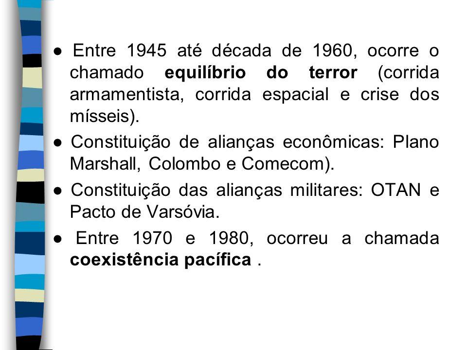 Entre 1945 até década de 1960, ocorre o chamado equilíbrio do terror (corrida armamentista, corrida espacial e crise dos mísseis). Constituição de ali