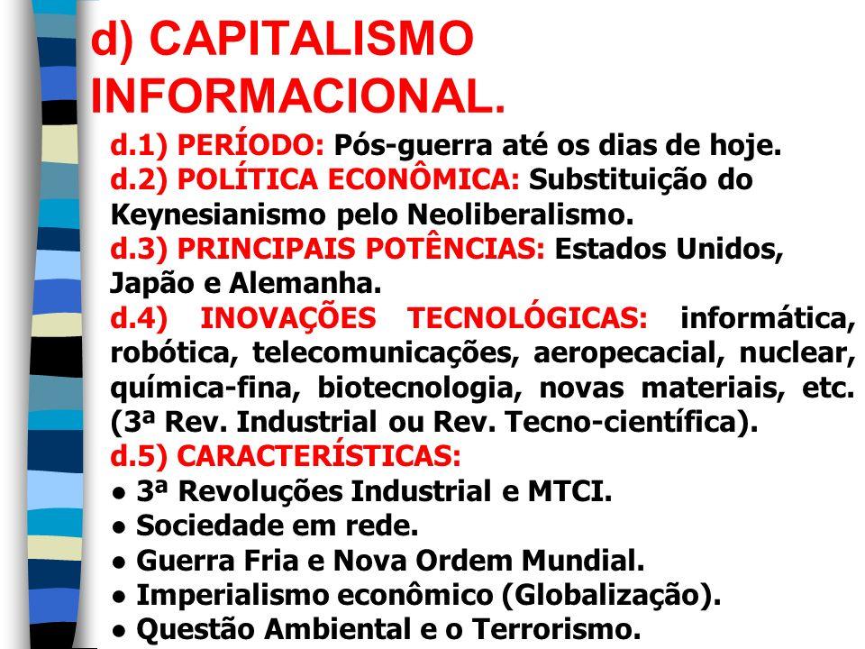 d) CAPITALISMO INFORMACIONAL. d.1) PERÍODO: Pós-guerra até os dias de hoje. d.2) POLÍTICA ECONÔMICA: Substituição do Keynesianismo pelo Neoliberalismo
