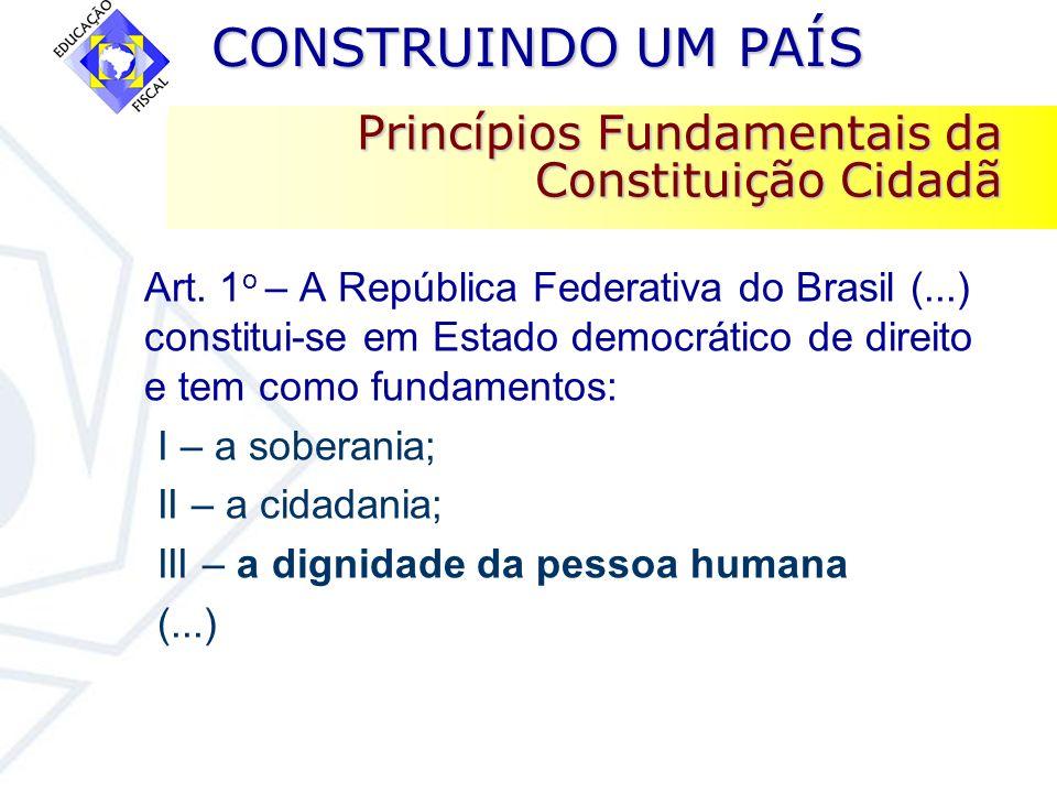 CONSTRUINDO UM PAÍS CONSTRUINDO UM PAÍS Princípios Fundamentais da Constituição Cidadã Art. 1 o – A República Federativa do Brasil (...) constitui-se
