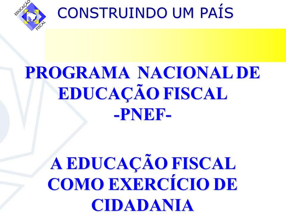 CONSTRUINDO UM PAÍS CONSTRUINDO UM PAÍS Características do Sistema Tributário Brasileiro Destacamos duas características que interferem diretamente no exercício da cidadania fiscal: 1.Pequena participação dos municípios na arrecadação tributária global, que em 2002 foi assim partilhada entre os três níveis de governo: União –65,2% Estados – 25,2% Municípios – 9,6% 2.Os tributos indiretos representam cerca de 70% da carga tributária total.