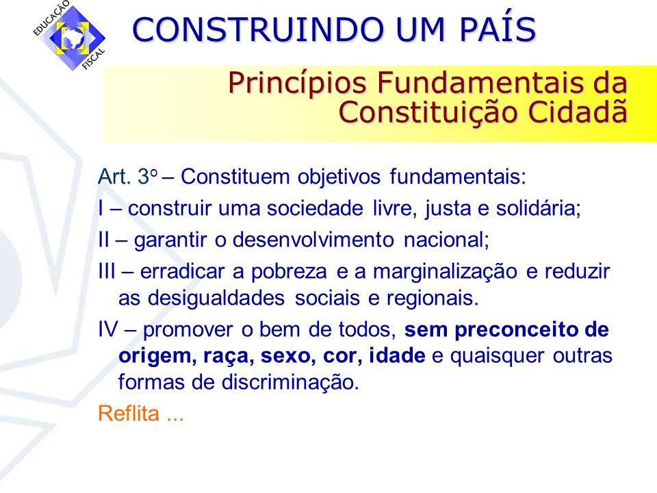 CONSTRUINDO UM PAÍS CONSTRUINDO UM PAÍS Princípios Fundamentais da Constituição Cidadã Art. 3 o – Constituem objetivos fundamentais: I – construir uma