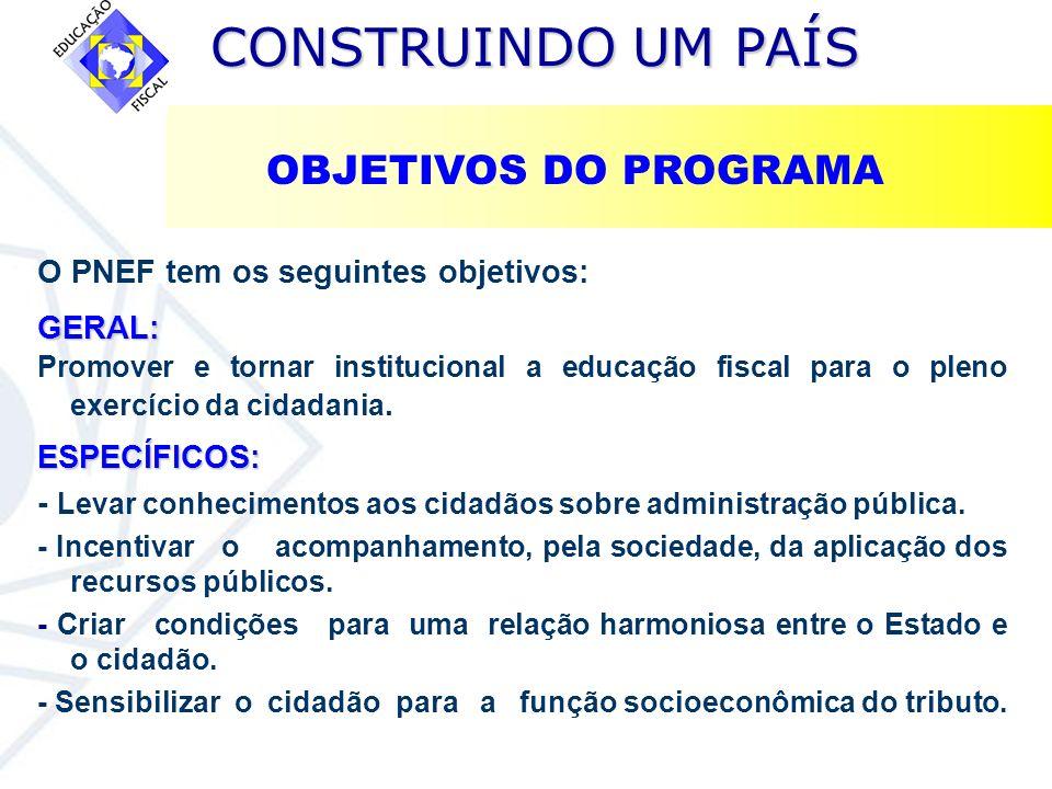 CONSTRUINDO UM PAÍS CONSTRUINDO UM PAÍS O PNEF tem os seguintes objetivos:GERAL: Promover e tornar institucional a educação fiscal para o pleno exercí