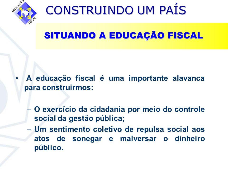 CONSTRUINDO UM PAÍS CONSTRUINDO UM PAÍS A educação fiscal é uma importante alavanca para construirmos: –O exercício da cidadania por meio do controle