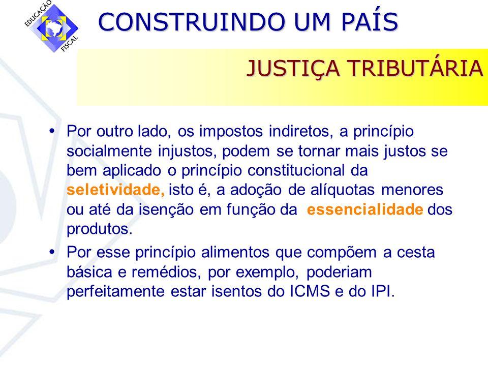 CONSTRUINDO UM PAÍS CONSTRUINDO UM PAÍS JUSTIÇA TRIBUTÁRIA Por outro lado, os impostos indiretos, a princípio socialmente injustos, podem se tornar ma
