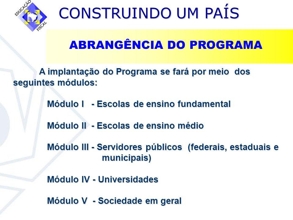 CONSTRUINDO UM PAÍS CONSTRUINDO UM PAÍS A implantação do Programa se fará por meio dos seguintes módulos: Módulo I - Escolas de ensino fundamental Mód
