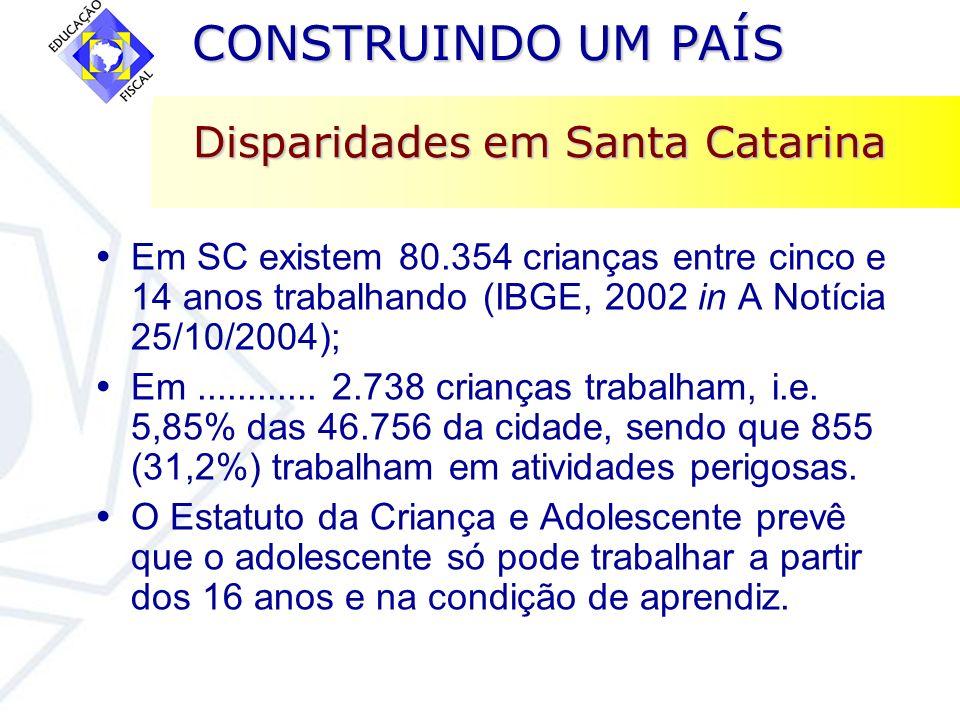 CONSTRUINDO UM PAÍS CONSTRUINDO UM PAÍS Disparidades em Santa Catarina Em SC existem 80.354 crianças entre cinco e 14 anos trabalhando (IBGE, 2002 in