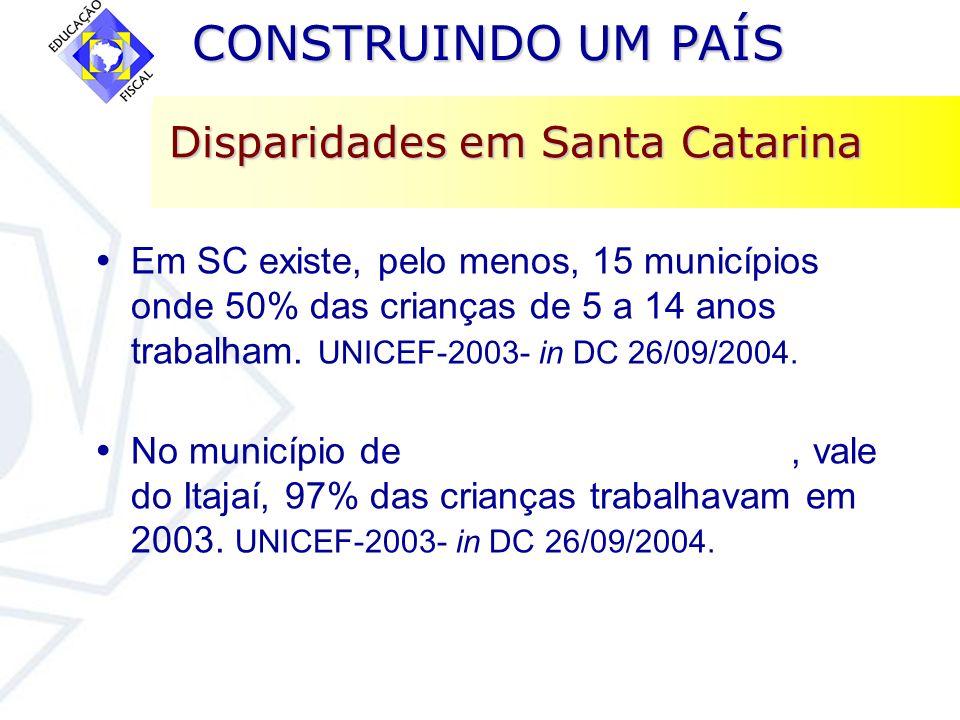 CONSTRUINDO UM PAÍS CONSTRUINDO UM PAÍS Disparidades em Santa Catarina Em SC existe, pelo menos, 15 municípios onde 50% das crianças de 5 a 14 anos tr