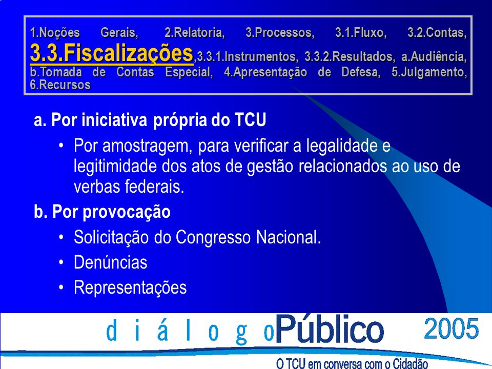 a. Por iniciativa própria do TCU Por amostragem, para verificar a legalidade e legitimidade dos atos de gestão relacionados ao uso de verbas federais.