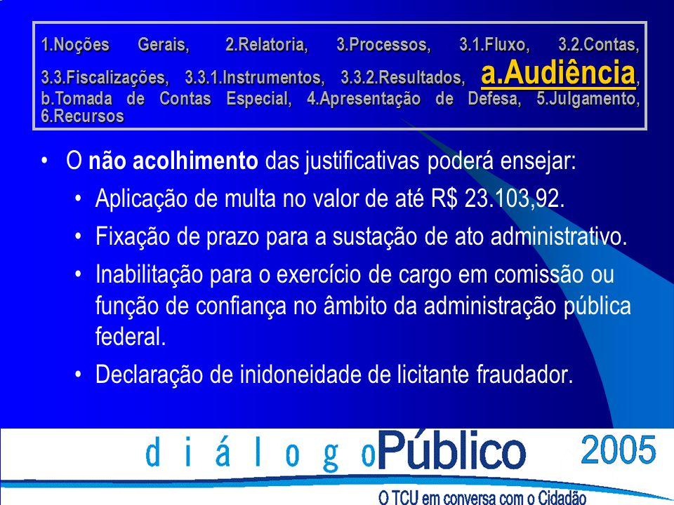 O não acolhimento das justificativas poderá ensejar: Aplicação de multa no valor de até R$ 23.103,92.