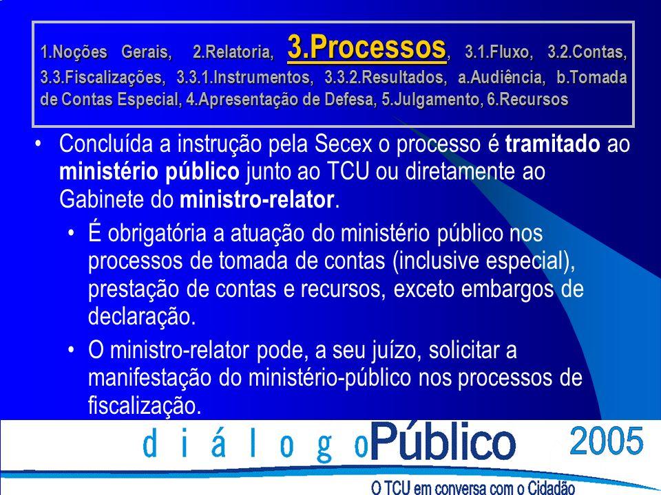 Concluída a instrução pela Secex o processo é tramitado ao ministério público junto ao TCU ou diretamente ao Gabinete do ministro-relator.