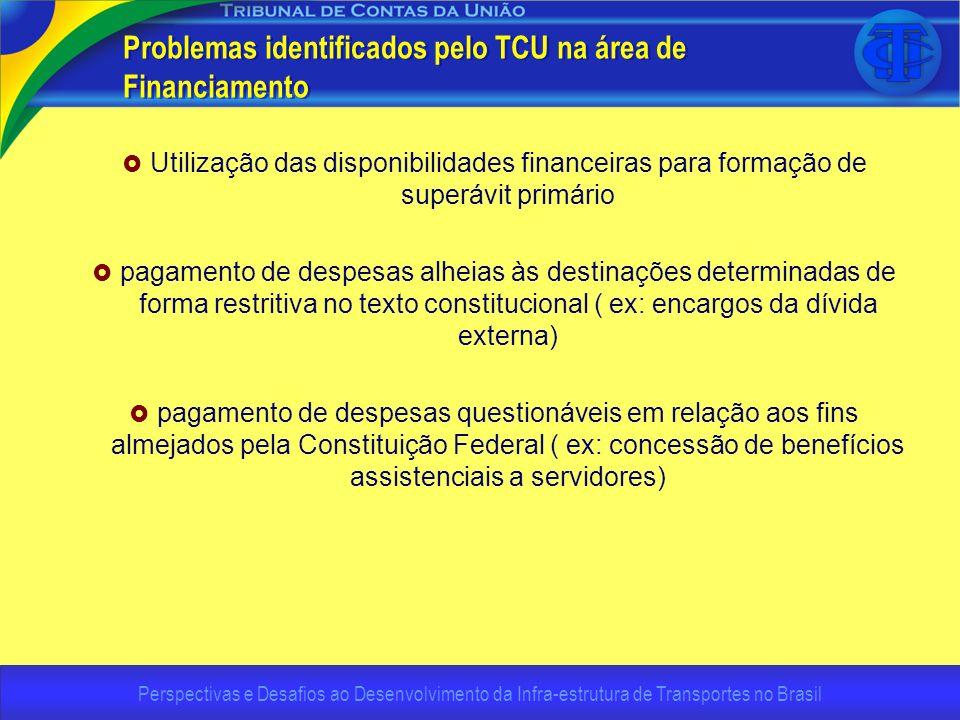 Perspectivas e Desafios ao Desenvolvimento da Infra-estrutura de Transportes no Brasil Problemas identificados pelo TCU na área de Financiamento Utili