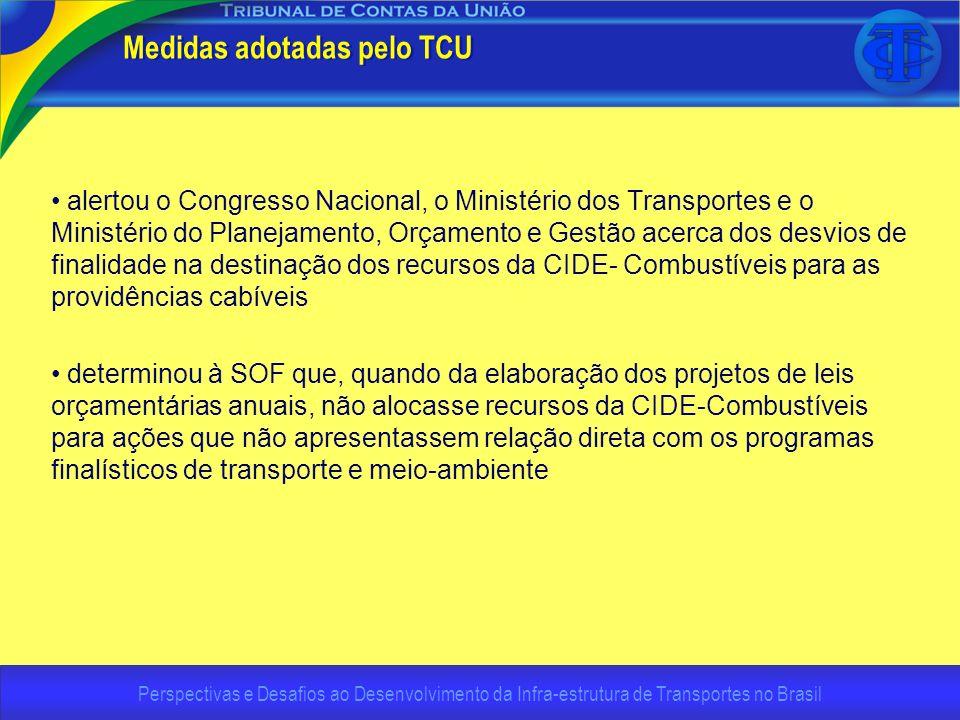 Perspectivas e Desafios ao Desenvolvimento da Infra-estrutura de Transportes no Brasil Medidas adotadas pelo TCU alertou o Congresso Nacional, o Minis