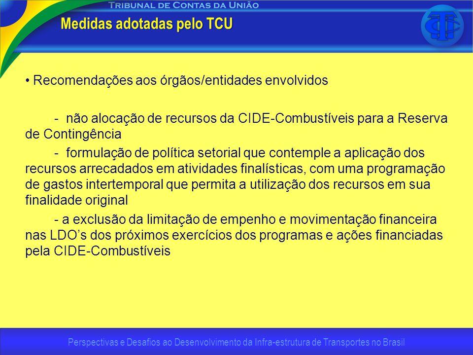 Perspectivas e Desafios ao Desenvolvimento da Infra-estrutura de Transportes no Brasil Medidas adotadas pelo TCU Recomendações aos órgãos/entidades en